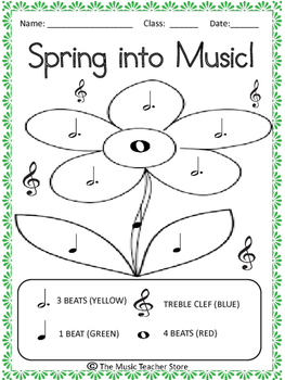 SPRING INTO MUSIC! NOTE IDENTIFICATION COLORING PAGE