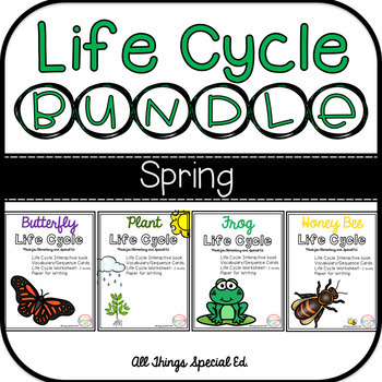 SPRING Life Cycle BUNDLE - Plant, Butterfly, Frog and Bee