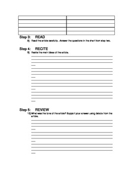 SQ3R Worksheet for Reading Newspaper Articles