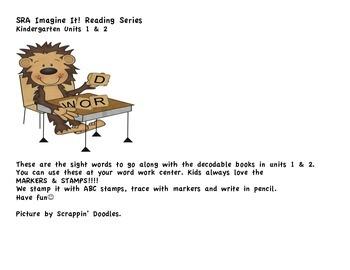 SRA Imagine It! Kindergarten Uniit 1 and 2 Sight Words