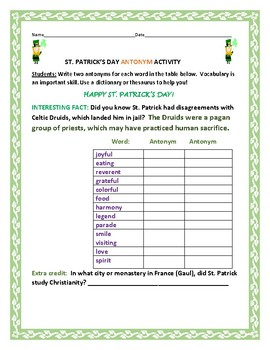 ST. PATRICK'S DAY ANTONYM ACTIVITY: A vocabulary assignment