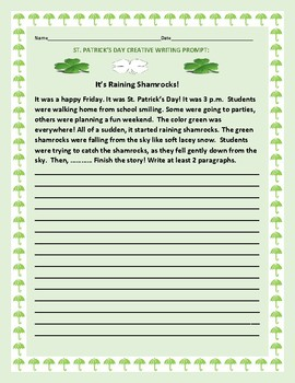 ST. PATRICK'S DAY CREATIVE WRITING PROMPT: IT'S RAINING SH