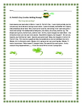 ST. PATRICK'S DAY CREATIVE WRITING PROMPT: THE  VERY GREEN DAY