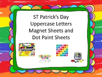 ST Patrick's Day Uppercase Letters Magent and Dot Sheets