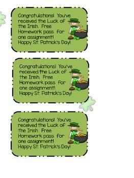 ST. Patrick's Day Free Homework Pass Say What?