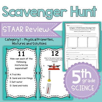 STAAR 5th Grade Science Category 1 Review Scavenger Hunt