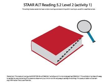 STAAR ALT 5th Grade RDNG BUNDLE level 2 (8 activities)--SU