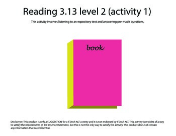 STAAR ALT Reading 3.13 Level 2 (activity 1) SUGGESTION