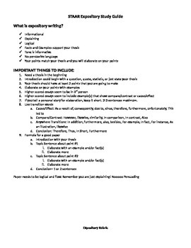STAAR English I Expository Study Guide, Rubric, Peer Edit
