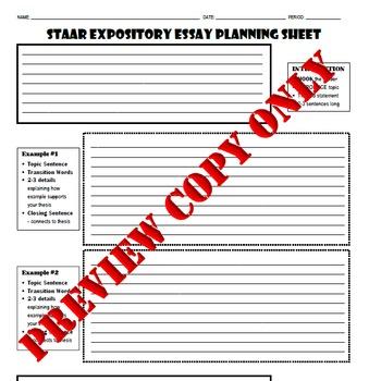 STAAR Expository Essay Planning Sheet