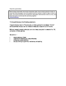 STAAR Expository Essay topic