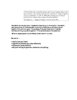 STAAR Expository Lord of the Flies Essay Prompt