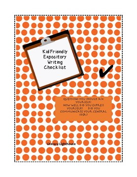 STAAR Expository Writing: Kid Friendly Essay Checklist