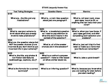 STAAR Jeopardy Updated Answer Key