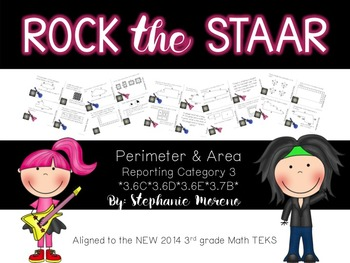 STAAR Math Test Prep Reporting Category 3 3rd grade Task Cards