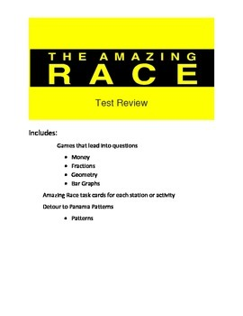 Math Game- End of Year Math Test Review- Amazing Race Them
