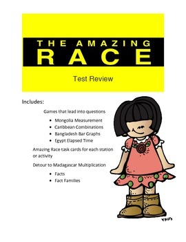 Math Game- End of Year Math Test Review-Amazing Race Theme