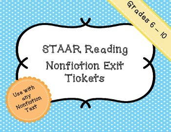 Reading STAAR Nonfiction Exit Tickets