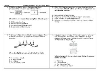 5th Grade Science STAAR Packet #8