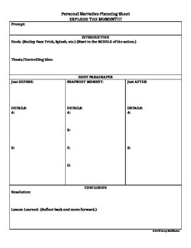 STAAR Personal Narrative Planning Sheet