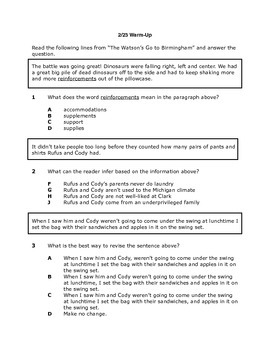 """STAAR Questions for """"The Watson's Go to Birmingham-- 1963"""""""
