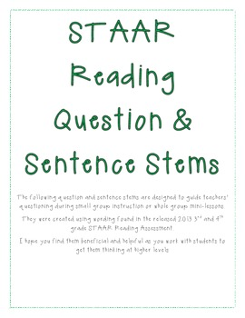 STAAR Reading Question and Sentence Stems