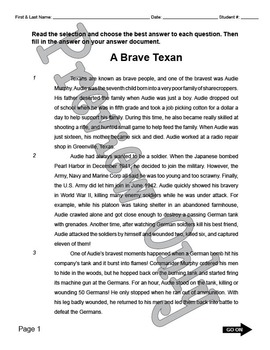 "STAAR Reading Passage — ""Audie Murphy"""