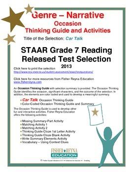 STAAR Release Analysis & Activities, Car Talk, Grade 7