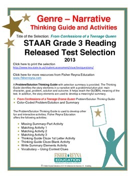 STAAR Release Analysis & Activities: Confessions of a Teen