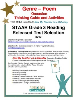 STAAR Release Analysis & Activities: Saw My Teacher on Sat