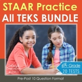 6th Grade Math BUNDLE {STAAR TEST PRACTICE} 20 Assessments