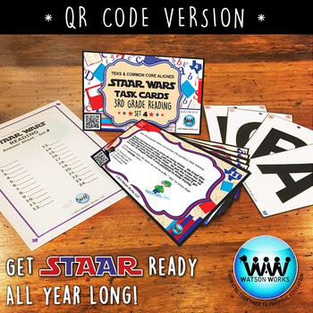 STAAR WARS 3rd Grade Reading Task Cards ~ SET 4 ~ QR Code Version