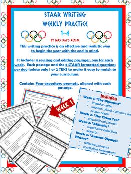 4th Grade STAAR Writing Weekly Practice 1-4