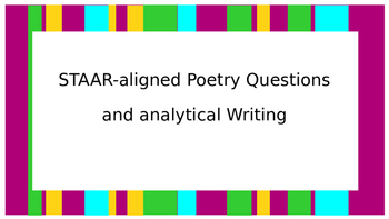 STAAR-aligned Poetry Questions and analytical Writing