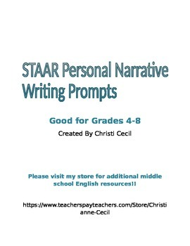 "STAAR ""like"" Personal Narrative Writing Prompts"