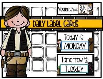 STAR WARS Daily Label Cards {Classroom Calendar}