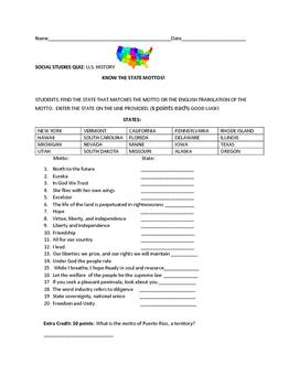 STATE MOTTOS: QUIZ, OR SOCIAL STUDIES COMPETITION, GRADES 5-9