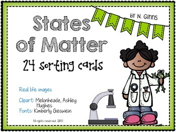 STATES OF MATTER 24 Sorting Cards Activity for solids, liq