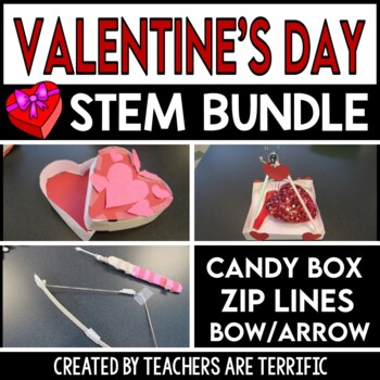 STEM Activities Challenge Heart Bundle Candy Boxes, Bow an