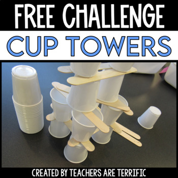 STEM Challenge FREEBIE - Sticks and Cups Tower