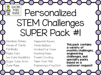 STEM Engineering Challenge Projects ~ PERSONALIZED Super Pack #1
