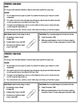 STEM Lab Science Experiment - paper clip towers lab