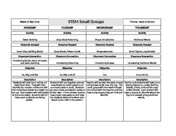STEM Preschool Lesson Plans