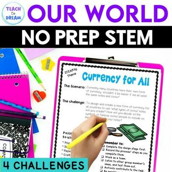 STEM Task Cards, STEAM Challenges - Our World Theme: BUNDL
