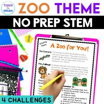 STEM Task Cards, STEAM Task Cards - Zoo Theme: BUNDLE!