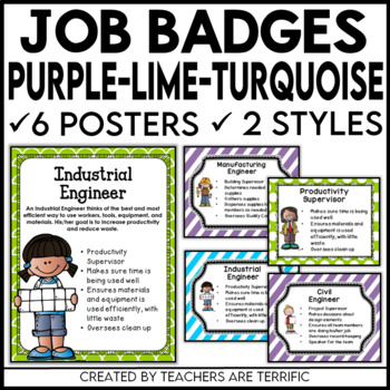 STEM and Science Job Badges and Posters in Purple, Lime, a