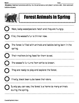 Paragraph Cut & Paste: FOREST ANIMALS IN SPRING