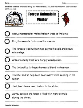 PARAGRAPH CUT & PASTE: FOREST ANIMALS IN WINTER