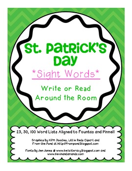 *ST.PATRICK'S* Day Write/Read Around the Room (Sight Words)