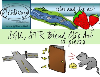 STR, SQU Blend Phonics Clip Art Set - Color and Line Art 1